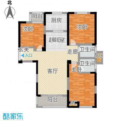 国金怡桂苑131.10㎡A户型3室2厅2卫