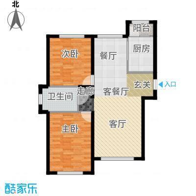 华溪龙城二期101.30㎡B1、B3户型两室两厅一卫户型2室2厅1卫