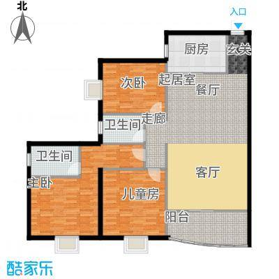 龙湾一品131.06㎡青铜时代户型3室2厅2卫