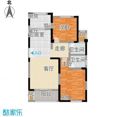 国金怡桂苑107.62㎡D1户型2室2厅2卫