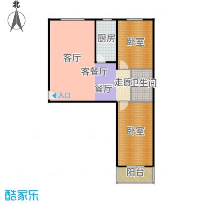 东泽园东泽园E户型2室1厅1卫1厨 98.00㎡户型2室1厅1卫