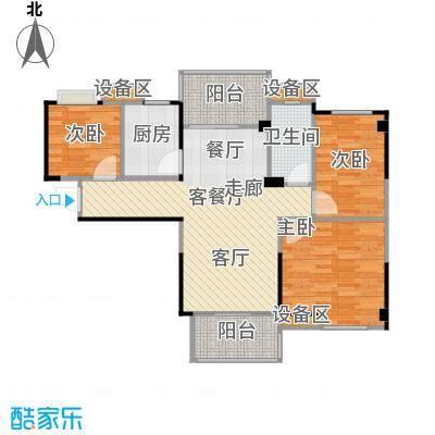 碧桂园温泉城97.16㎡柏林二期高层洋房J417-B户型3室2厅1卫
