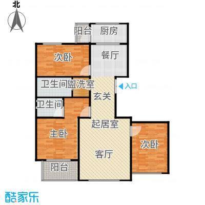滨河湾117.95㎡B户型3室2厅2卫1厨 117.95㎡户型3室2厅2卫