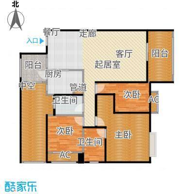 劲风财智领域126.95㎡公寓A2户型图户型3室2厅2卫