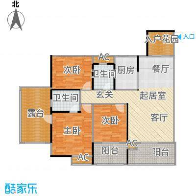 劲风财智领域120.99㎡公寓A1户型图户型3室2厅2卫