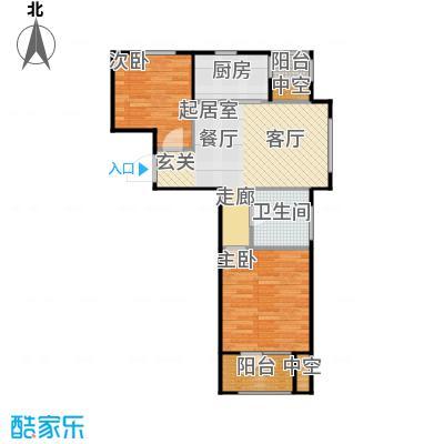 澳海澜苑65.00㎡B1-两室两厅一卫65平米户型2室2厅1卫