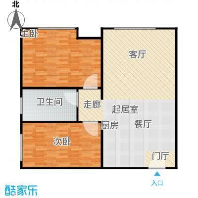 衡水金海岸两室两厅一卫 77.54平米户型2室2厅1卫