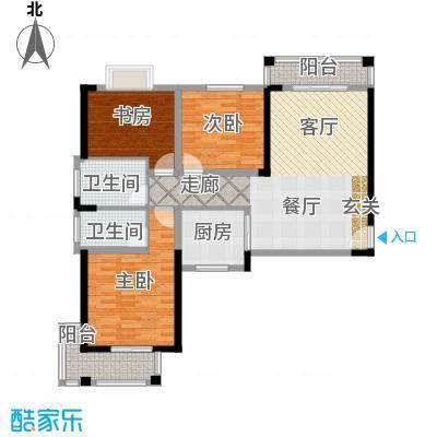 天洁国际城华沙城128.53㎡B7户型3室2厅2卫
