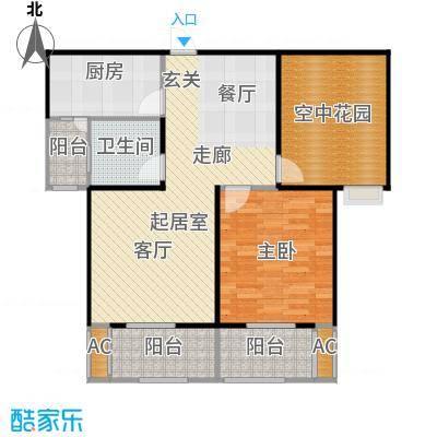 景尚名郡87.47㎡87.47平米两室两厅一卫户型2室2厅1卫