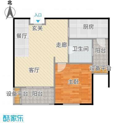 邦泰中央花城65.00㎡H1b户型 1室2厅1卫1厨户型1室2厅1卫
