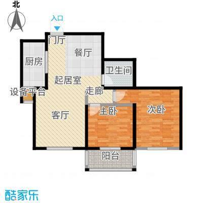 华丽家族88.32㎡5#P1户型图户型2室2厅1卫