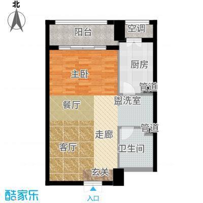 一中官邸62.58㎡j户型 一室两厅一卫户型