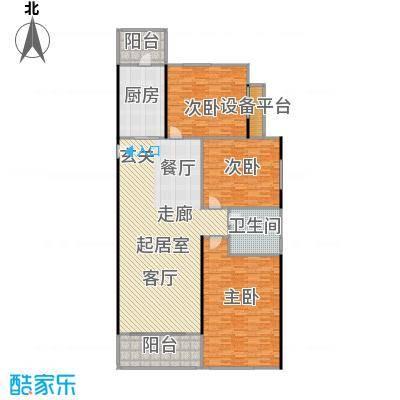 恒大中心120.00㎡2-5#楼标准层120平户型3室2厅1卫