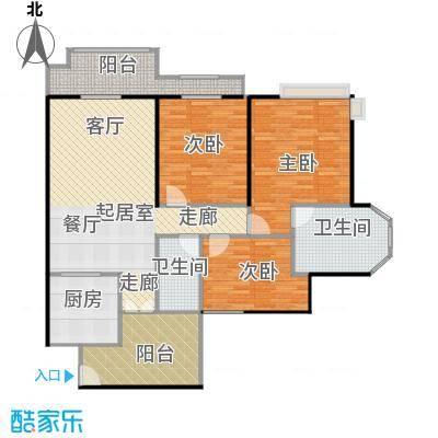 懿峰雅居01户型三房183.3平方米户型