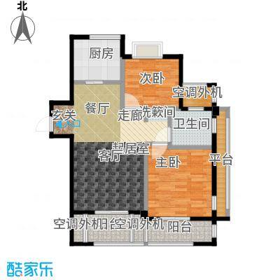 新湖保亿御景国际85.97㎡A2户型 2室2厅1卫户型2室2厅1卫