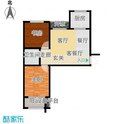 水晶东座83.99㎡D2户型 两室两厅一卫户型2室2厅1卫