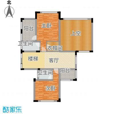 富盈凯旋城91.12㎡10栋、12栋和14栋别墅C2二层户型2室1厅2卫