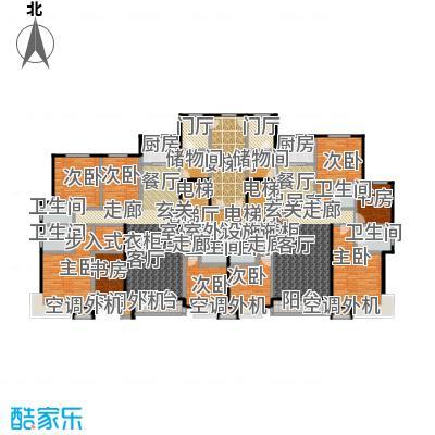丽景福苑173.21㎡四室两厅三卫F2户型(右户型为F2户型)户型4室2厅3卫