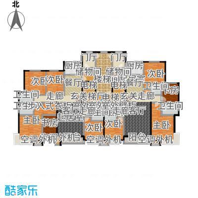丽景福苑195.00㎡四室两厅三卫F1户型(左户型为F1户型)户型4室2厅3卫