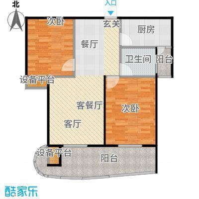 中央华府户型2室1厅1卫1厨