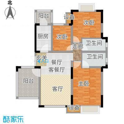 无锡万达文化旅游城120.73㎡A6户型 洋房6楼 三室两厅两卫户型3室2厅2卫
