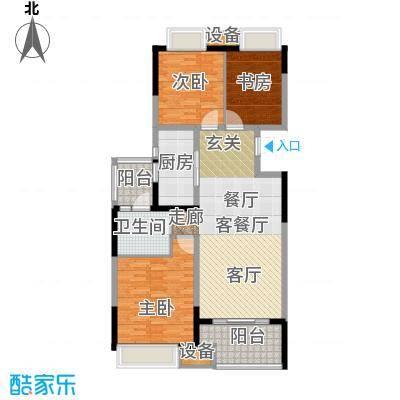 无锡万达文化旅游城108.00㎡B1户型 三室两厅一卫户型3室2厅1卫
