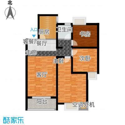 上海花园108.00㎡D1 三室两厅一卫 108平米户型3室2厅1卫