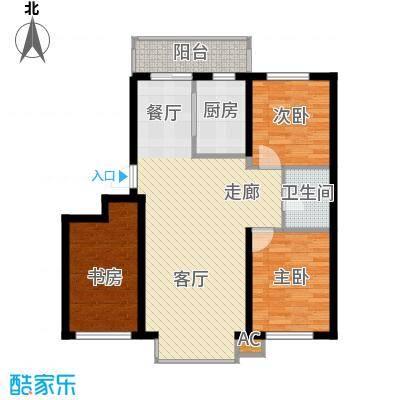 阳光嘉城三期106.00㎡F1户型两室两厅一卫户型2室2厅1卫