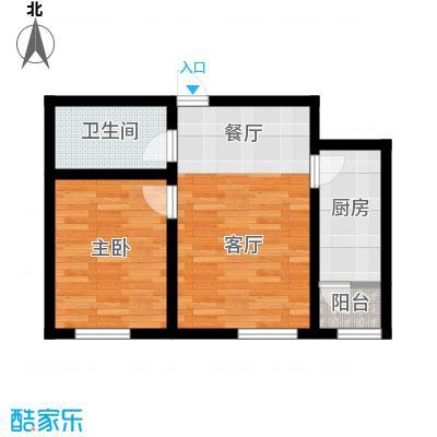 阳光嘉城三期58.00㎡E1户型一室一厅一卫户型1室1厅1卫