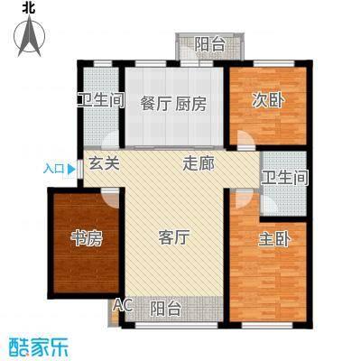 阳光嘉城三期128.00㎡D户型三室两厅两卫户型3室2厅2卫