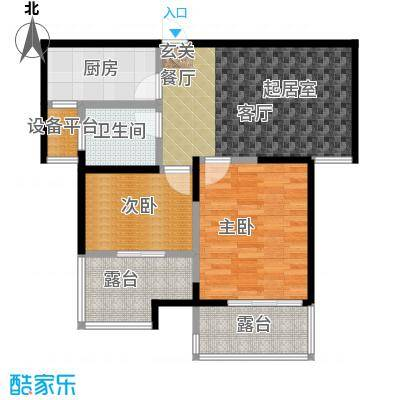 蓝庭国际77.81㎡1号楼1-M户型2室2厅1卫