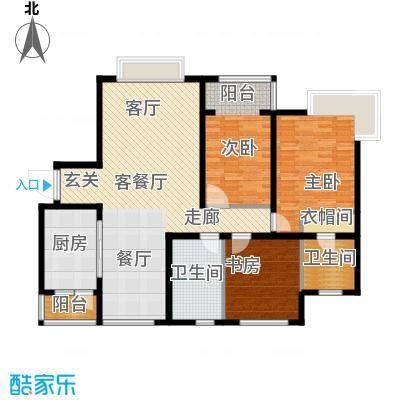 银湖馨苑130.00㎡J2户型130平三室两厅两卫户型3室2厅2卫