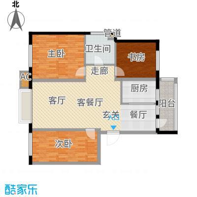 银湖馨苑111.00㎡E户型111平三室两厅一卫户型3室2厅1卫