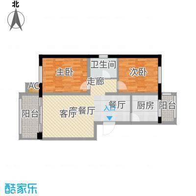 银湖馨苑80.80㎡D户型80.8平两室两厅一卫户型2室2厅1卫