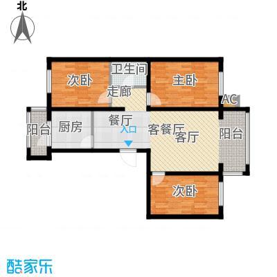 银湖馨苑c2型95平三室两厅一卫户型3室2厅1卫