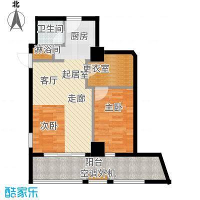 中天清华园清华园67平米二室一厅一卫户型