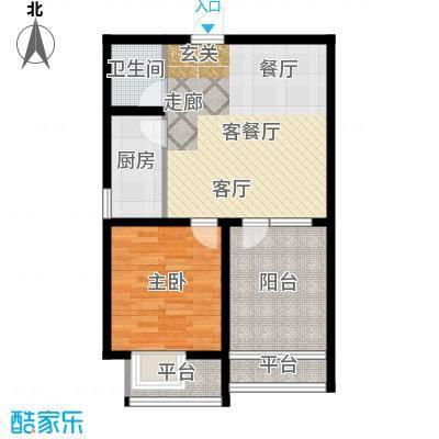 康桥郡一室两厅一卫67.65平米户型1室2厅1卫
