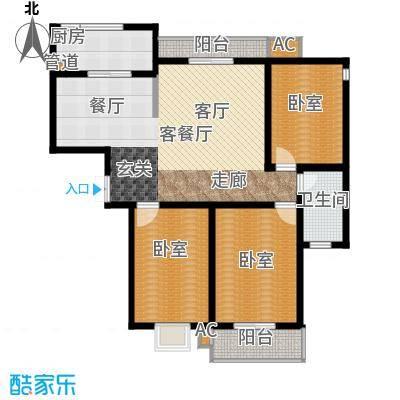 锦绣江南120.00㎡三室两厅一卫户型3室2厅1卫