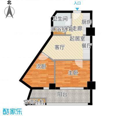 中天清华园清华园61平米二室一厅一卫户型