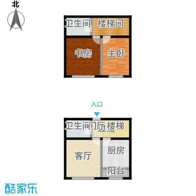 大庆宜和园98.00㎡98F户型 跃层户型2室1厅2卫