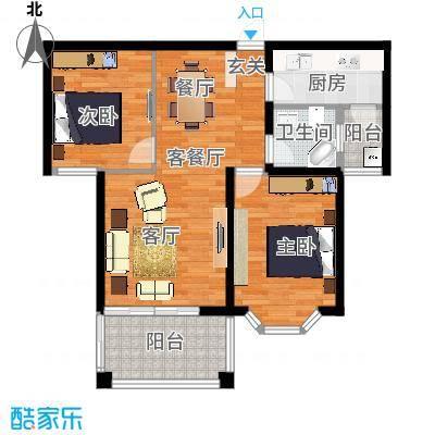 航宇香格里拉户型2室1厅1卫1厨