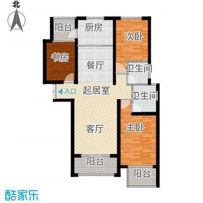 天水丽城二期121.26㎡C户型-三室两厅两卫户型3室2厅2卫