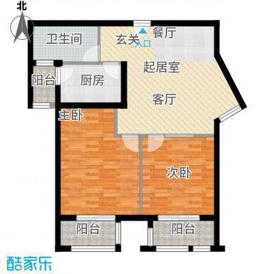 丁豪广场81.14㎡EF 住宅 两室两厅一卫户型2室2厅1卫
