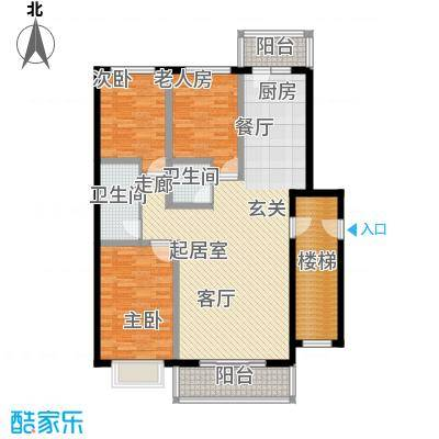 俪城118.60㎡三室两厅两卫户型