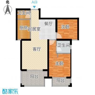 天水丽城二期87.61㎡E户型-两室两厅一卫户型2室2厅1卫