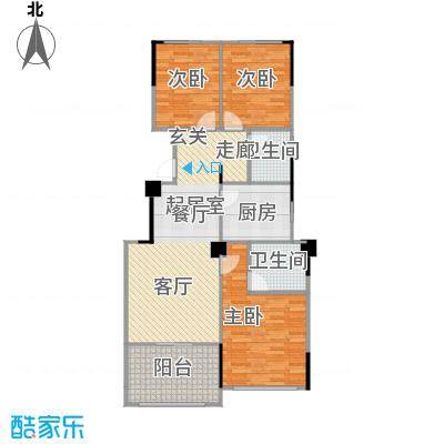 阳光下的红屋顶102.10㎡B户型小高层户型3室2厅2卫