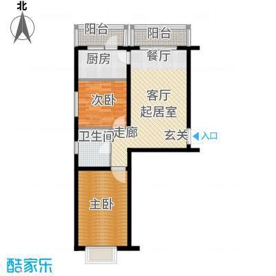 绿树景苑66.00㎡两室两厅一卫户型