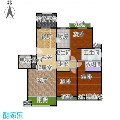 铂悦山136.00㎡F1户型图户型3室2厅2卫