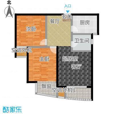 枫林湾89.00㎡B户型,两房两厅一卫,面积约89㎡户型2室2厅1卫