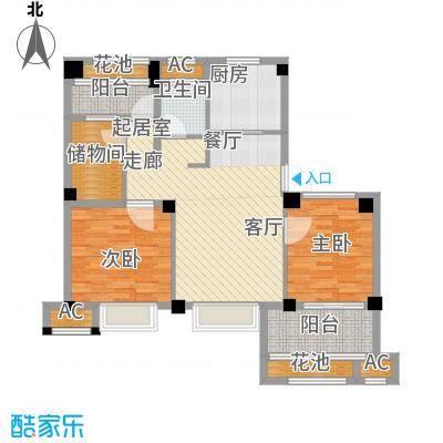 诚盛御庭82.00㎡89平米 三居室户型3室2厅1卫